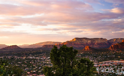 Helicopter View of Sedona, Sunset