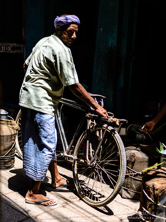 Indian witha bike in Varanasi