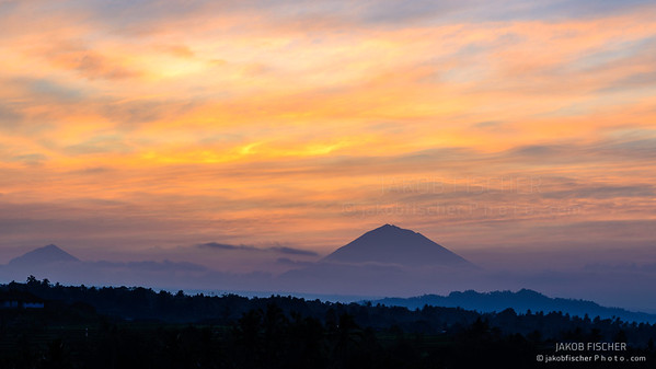 Look at Gunung Agung Summit at sunrise, Jatiluwih