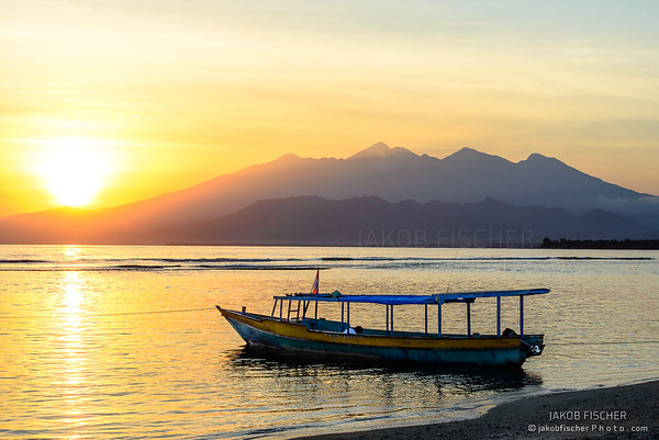 View to Lombok at sunrise