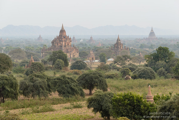 Bagan at sunset with view from Shwesandaw