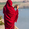 burmese monk taking a picture