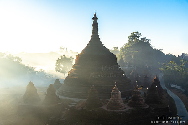 Ratanabon temple of the Mrauk U in the morning fog