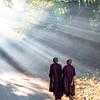 burmese monk in Mrauk U
