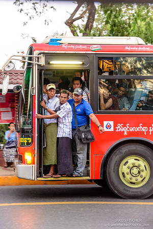 Overcrowded bus in Yangon