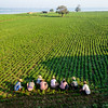 farmers at work around U-Bein Bridge, Amarapura, Myanmar