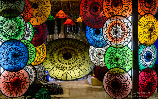colorful parasols, Bagan