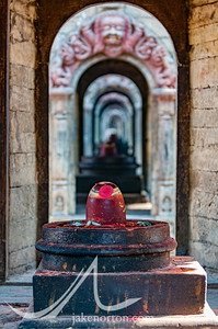 One of the many four-faced Shiva Lingams at Pashupatinath, Kathmandu, Nepal.