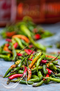 Vibrant chili peppers for sale on the street in Bhaktapur, Kathmandu Valley, Nepal.