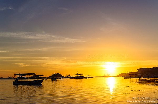Sun setting in the Philippines