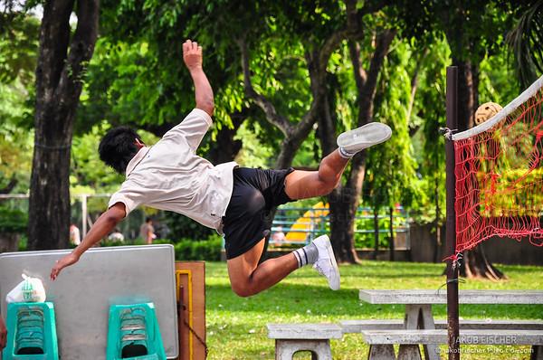 Thais playing Sepak takraw