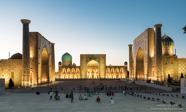 Registan during blue hour, Samarkand / Uzbekistan