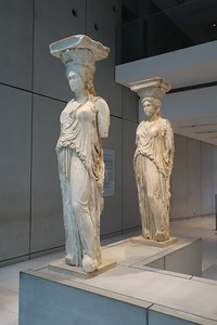 original Caryatid supports in Acropolis Museum