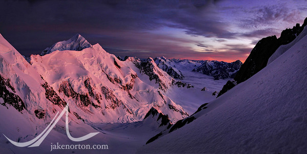 Sunrise on Mount Tasman from high on the Linda Glacier Route on Aoraki (Mount Cook), New Zealand.