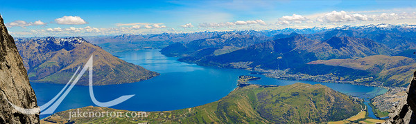 Panorama of Lake Wakatipu viewed from high on Double Cone in the Remarkables, Otago, New Zealand.