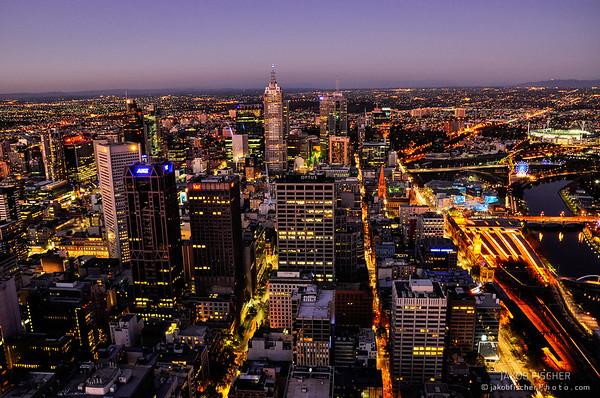Melbourne Skyline after sunset