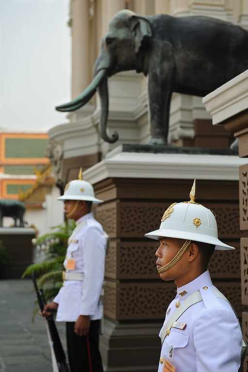 Guards at Chakri Maha Prasat Hall, Grand Palace, Bangkok, Thailand
