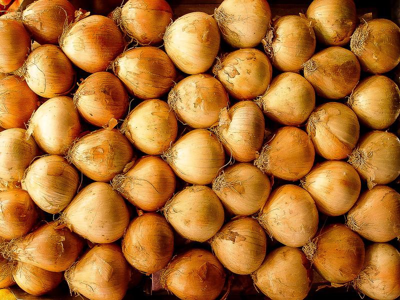 Onions at the Market, La Rambla, Barcelona, Spain