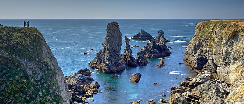 """""""Les Aiguilles de Port Coton"""" – rocky outcroppings made famous in Claude Monet paintings.  He wrote: """"Je suis installé dans un tout petit hameau de Belle-Ile, je travaille beaucoup, l'endroit est très beau mais très sauvage, mais la mer est incomparablement belle et accompagnée de rochers fantastiques."""""""