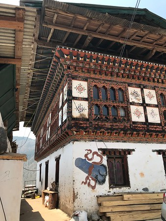 phallus  protective blessing symbol on house near Chimi Lhakhang temple