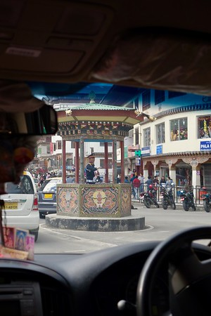 the single traffic control point in Thimphu