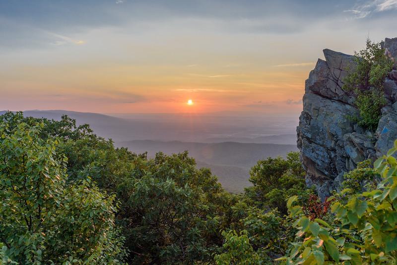 Blue Ridge Parkway Sunset at Humpback Rocks
