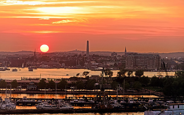 Sunset over Boston Harbor