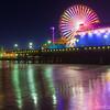 Late Dusk over Santa Monica Pier and Ferris Wheel, Santa Monica Beach Los Angeles County California