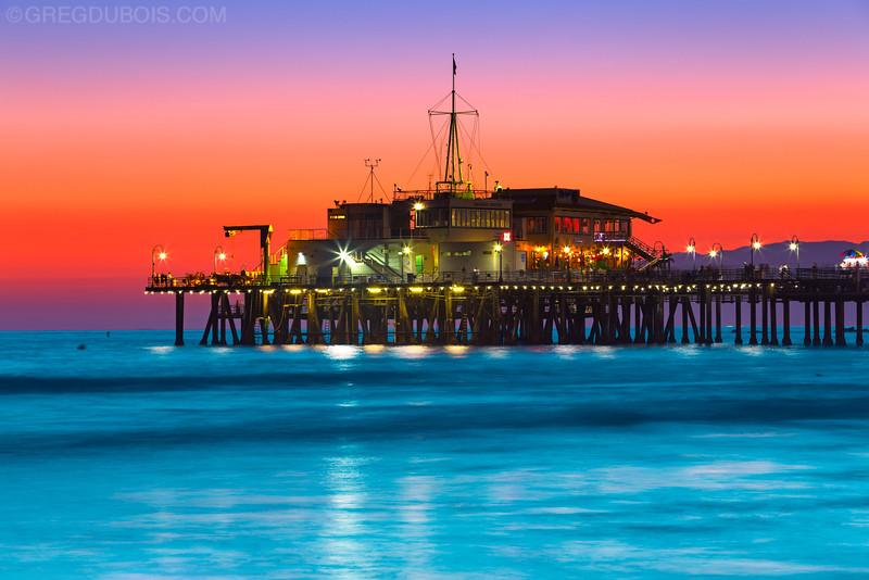 Santa Monica Pier and Malibu Mountains