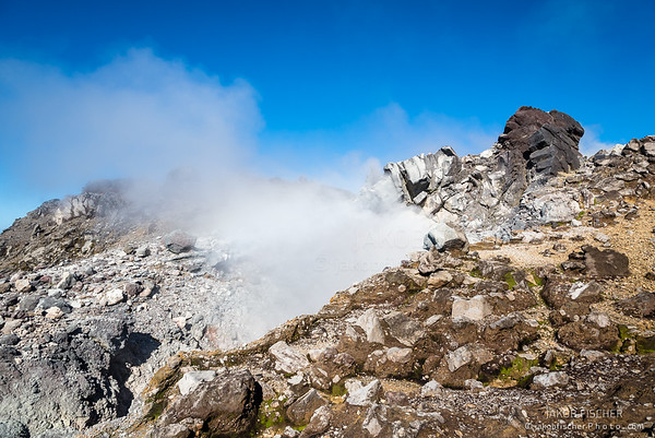 """view over the smoking summit of volcano """"La Soufriere"""", Guadeloupe"""