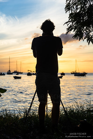 Silhouetted person during sunset