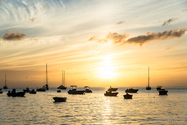 """silhouetted fisher boats in the bay of """"Anse a la Barque"""" at sunset, Guadeloupe"""