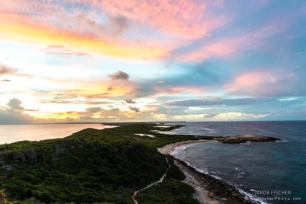 Pointe des Châteaux at sunset, Guadeloupe