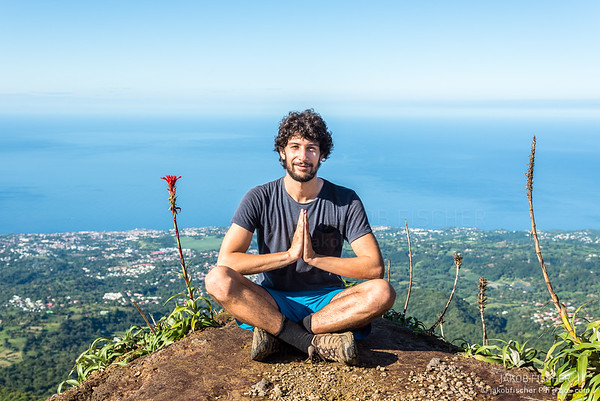"meditation on the summit of volcano ""La Soufriere"", Guadeloupe"