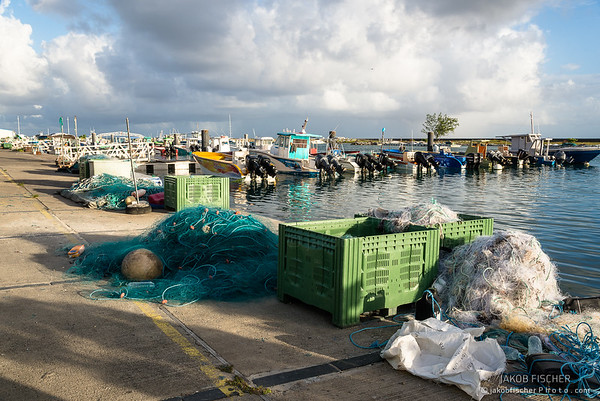 fisher nets in the harbor of Saint Francois, Guadeloupe
