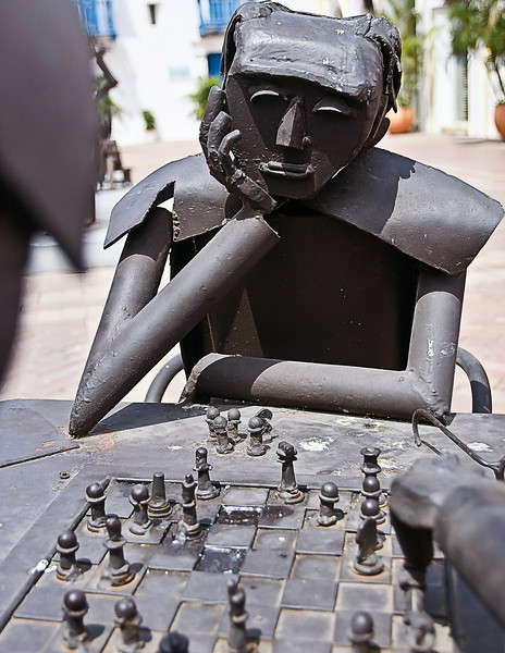Playing chess, Cartagena, Colombia