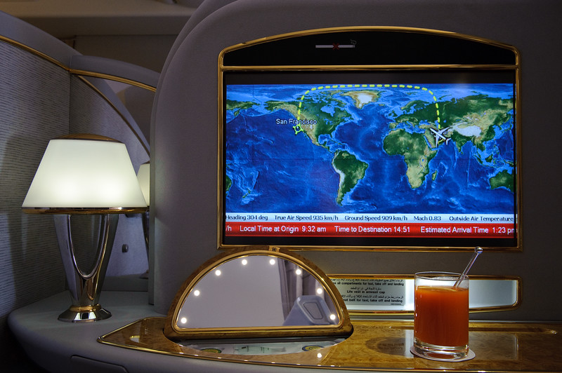 Emirates First class on EK225 DXB-SFO