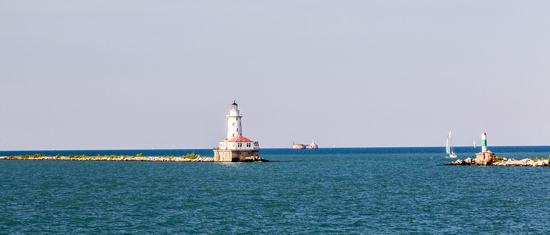 Chicago; Chicago Harbor Light; Illinois; USA