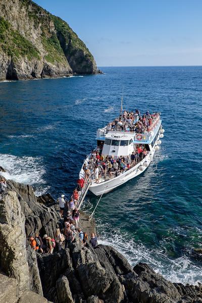 Disembarking at Riomaggiore