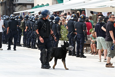 Security was intense for Split's first-ever Gay Pride parade, with several hundred officers in full riot gear to protect approximately 100 marchers.