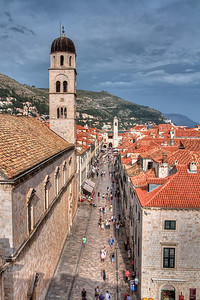 The view down Dubrovnik's main street, Placa, from the walls above the Pile gate.