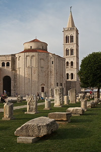 The Forum, Roman ruins and medieval buildings, Zadar.