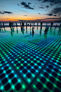 The Sun Salutation, Zadar.  The photovoltaic cells charge all day and at sunset put on a fantastic light show.