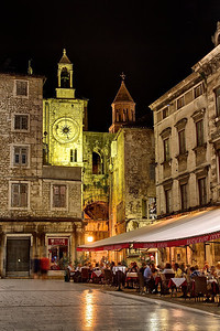 Split's main square at night.  Our balcony was right under the clock face.
