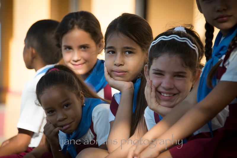school kids in Trinidad waiting for school to start
