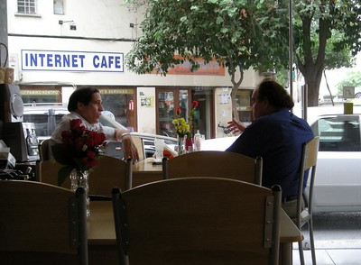 friends at a cafe in Nicosia