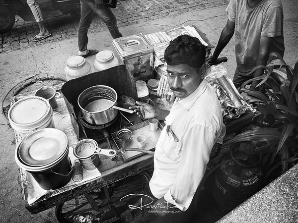 Masala tea maker on a street