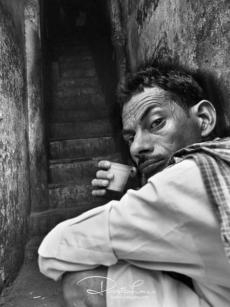 Man enjoying his tea - Chandni Chowk Road