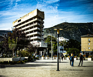 The famed Sniper Tower in Mostar, Bosnia and Herzegovina. Formerly the Ljubljanska Bank, the tower was occupied by Croat snipers during the bloody, 9 month siege of Mostar.