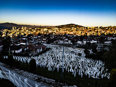 Kovači Cemetery for the dead of the siege of Sarajevo, Bosnia and Herzogovina.